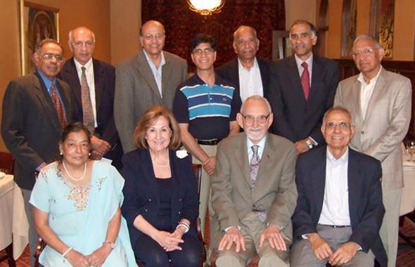 (Sitting from Left):Mony Thomas, Nike B. Luqman, Robert Curl, Raj Chhikara.(Standing from left): Koshy Thomas, Manik Talwani, Jagat Kamdar, Kapil Mehta, Krishna Dronamraju (host), Consul General Harish Parvathaneni, and Durga Agarwal.