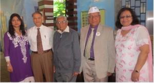 A group of supporters and activists. From left: Secretary Vinita Gulbani, Praful Rami, Raghunath Sharma, J Rawat and President Gurbachan Kaur