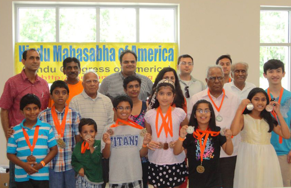 Hindu Sports Day winners with HMSA members. From left (Row 3): Ravindra Shukla, Rajendher Reddy (President, HTW), Rahul Chandra, Amit Banerjee, Dr. T.N. Rao, Dilip Mehta (President, HMSA), Padmaja Vedartham.