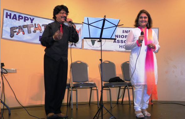 Rajan Radhakrishnan and Alpa Shah went through a medley of 16 Bollywood songs from yesteryear as they entertained the seniors of the India Senior Citizen's Association at their early Father's Day event last Saturday, June 8 at the India House.