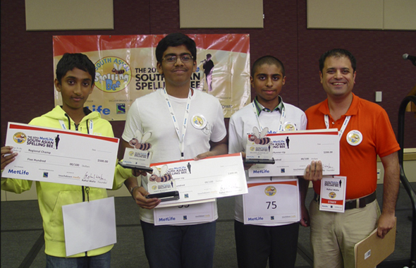 From left: Regional Champ Chetan Reddy of Plano, TX alongside First Runner Up Lokesh Nagineni of Flower Mound, TX; Second Runner Up Anjun Sujoe of Fort Worth, TX with Rahul Walia, Founder of the South Asian Spelling Bee.