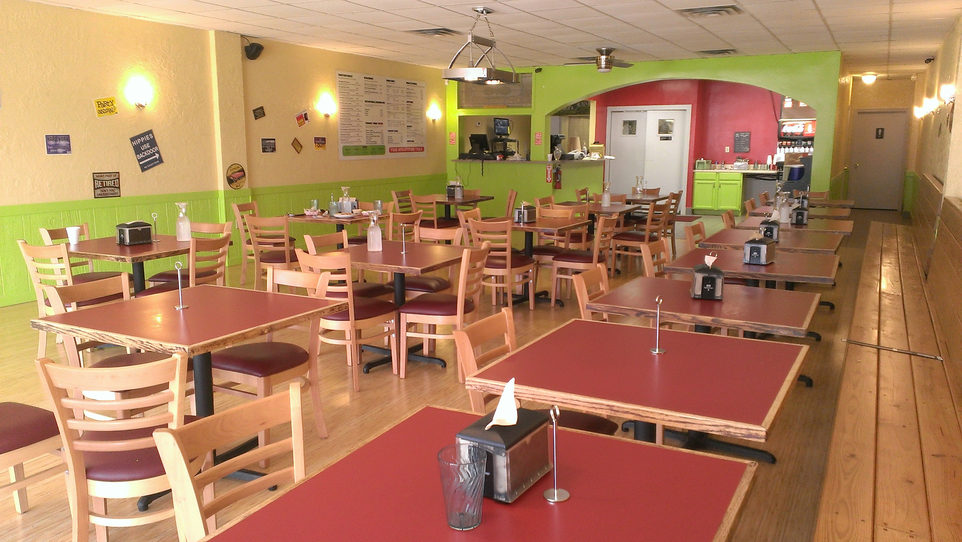 The interior of the restaurant. It gets all of the light from the hot Houston Sun without any of the heat.