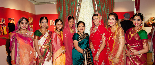 Model brides provided by Anjali Center of Performing Arts showed differences in regional wedding attire.   Photos: Alexander Fine
