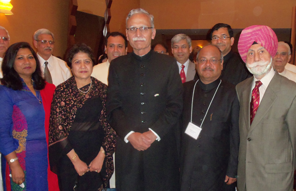 From left: Zabie Hussain, Sabiha Shah, AMU Vice Chancellor Retd. Lt. Gen. Zameer Uddin Shah, Latafath Hussain and Col. Raj Bhalla at the Twelfth Annual Convention of the Federation of Aligarh Alumni Associations, held last weekend in Houston.