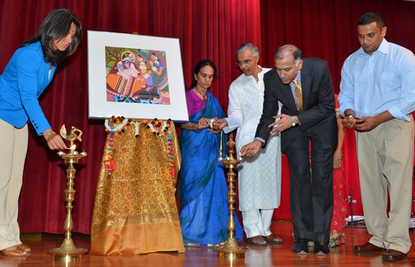 2013 Hindu Youth Awards Gala, hosted at  the VPSS on Saturday, July 13. Lamp-lighting ceremony, from left: Congresswoman Tulsi Gabbard, Thara Narasimhan, Ramesh Bhutada, Consul General P. Harish, and Girish Shintri.