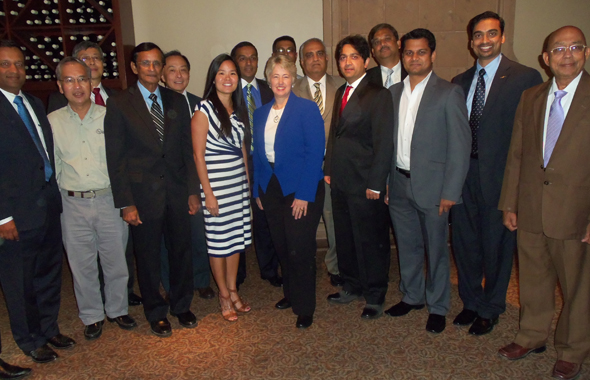 Members of the Boards of the American Society of Indian Engineers and Asian American Engineers and Architects pose with Houston Mayor Annise Parker after the luncheon held on Thursday, August 15.      Photos: Jawahar Malhotra