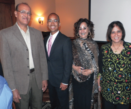 At the FHF fundraiser, from left Dr. Ravi Mani, Jason Borillo, President FHF, emcee Meena Datt, of Music of India radio show and Dr. Neera Bhutani, FHF Board member.