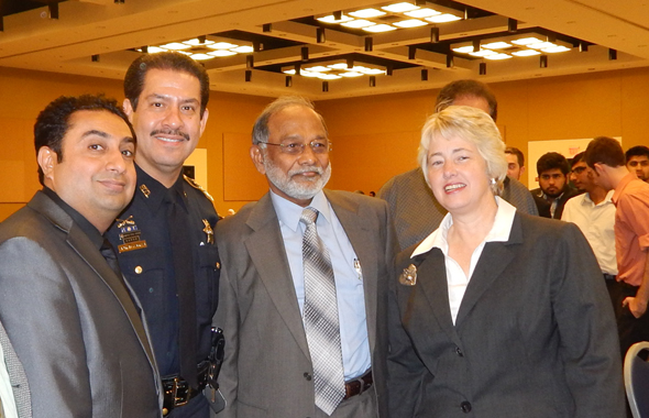 From left:  Rahman Moton, Sherriff Adrian Garcia, Hashim Badat and Mayor Anisse Parker