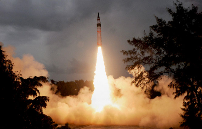 India conducted second test flight of its indigenously developed nuclear-capable 'Agni-V' long-range ballistic missile from the Wheeler Island in Odisha. (PTI Photo)