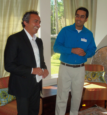US Congressman Ami Bera (D, CA) visited Houston this past weekend and attended a brunch at the house of attorney Ashish Mahendru (right) who introduced him to the invited guests.