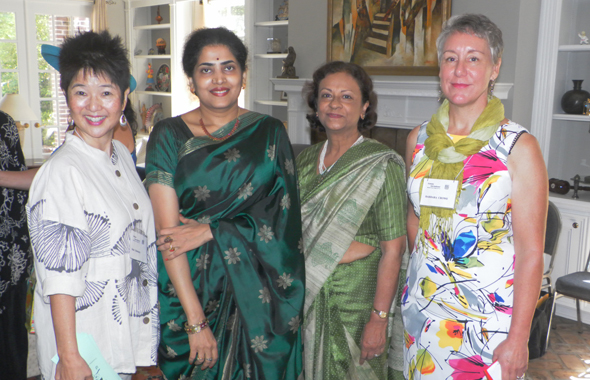 From left: Dale Schawrz, Sushila Mathew and Barbara Crowe of the Houston Chapter of Ikebana International flank Nandita Parvathaneni (2nd from left).          Photos: Jawahar Malhotra