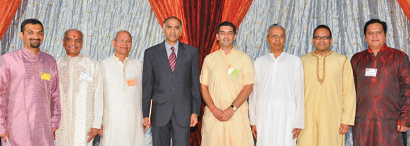 From left: Madhav Kashinath - Assistant Coordinator, HSS Houston, Sharad Amin - President, Hindus of Greater Houston, Subhash Gupta - President, HSS Houston, Harish Parvathaneni - Hon. CGI, Houston, Saumitra Gokhale - Global Coordinator, HSS, Ramesh Bhutada - Vice President, HSS USA, Amit Misra - Chief of Public Relation, HSS USA, Parthasarathi Krishnaswami, HGH Vice President.