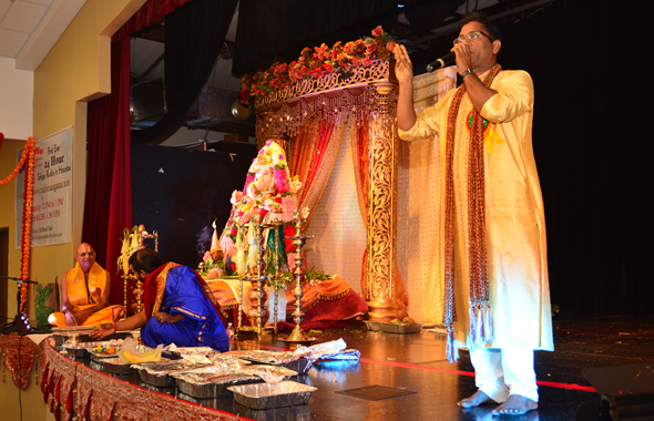Sridhar Dadi (right), at the Radio Hungama's Ganesha Mahotsav which was held at the Durgabari Temple on September 8.