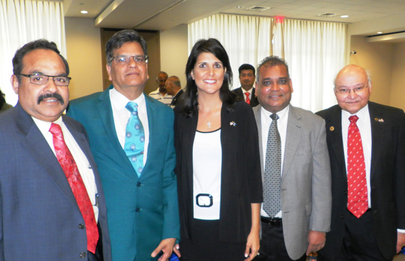 Gov. Nikki Haley with the India House team of executives (from left) Trustee Chowdary Yalamanchili; President Jugal Malani; VP of Finance Brij Agrawal and Trustee Dr. Virendra K. Mathur after the event.