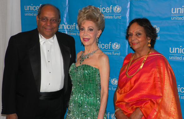 Nat and Leela Krishnamurthy with Margaret Alkek Williams during the red carpet photo shoot at the Wortham Center before the UNICEF Ball.          Photos: Jawahar Malhotra