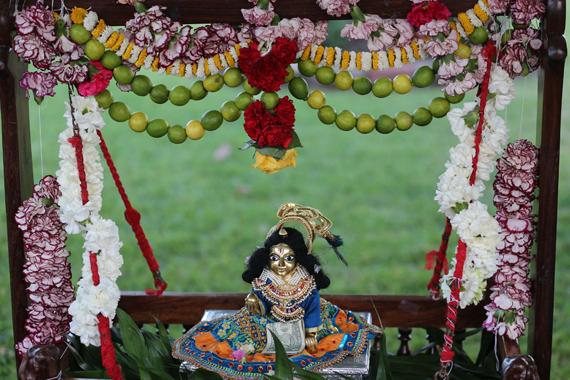 Swinging Bala Gopal on Janmastami.