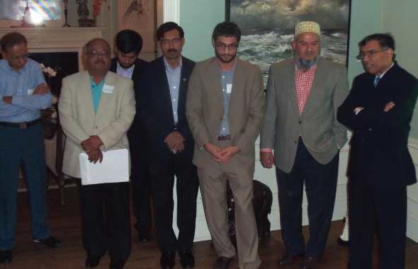 Dr. Maqbool Haq, Abeezar Tyebji, Yan Digilov, Dr. Moyeen Haque and Latafath Hussain at the high tea meeting held at the home of attorney Charles Foster and his wife Lily.