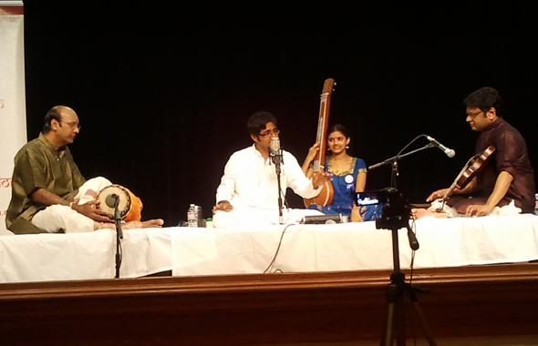 Vocalist Abhishek Raghuram, Violinist B.U. Ganesh Prasad, Mridangist Neyveli Narayanan. Kruthi Bhat  on the Tampura.