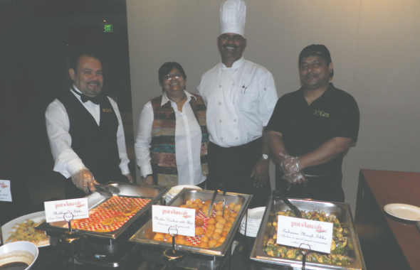 Sutapa Ghosh with Chef Sunil Srivastava with the appetizers served at the event.