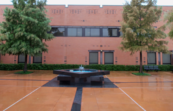 A fountain in the front courtyard of the Ismaili Jamatkhana on First Colony Boulevard in Sugar Land.