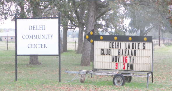 The little town of Delhi is nothing more than several structures along the sides of Texas Highway 304 in Caldwell County. The church, cemetery and community center are on the east side and the volunteer fire station is on the west side. A historical marker by the community center identifies the significance of the small settlement.