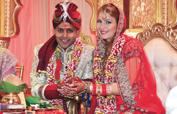 Dr. Ajay Jain and Audra Brunner after they had exchanged the wedding vows.