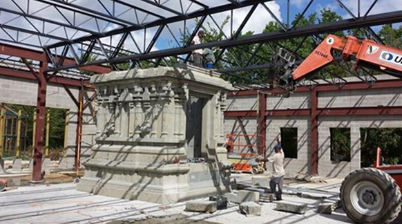The New Granite Ganesh temple being constructed.