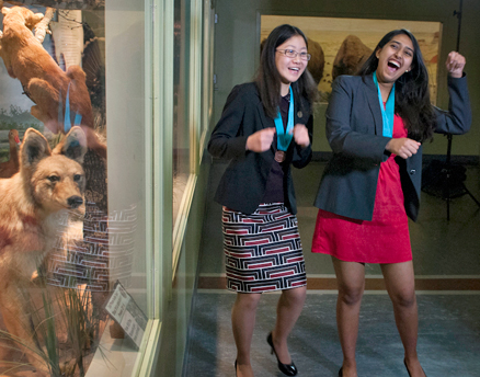 Shriya Das (right), a junior at The Hockaday School in Dallas, Texas, and Alyssa Chen, a junior at Highland Park High School in Dallas, are ecstatic at winning the team event and splitting a $6,000 scholarship award at a regional final of the Siemens Competition in Math, Science & Technology, held Nov. 8-9 at the University of Texas at Austin. They will compete in the national finals Dec. 7-10 in Washington, D.C. (Siemens photo) Read more at http://www.indiawest.com/news/15169-four-south-asians-advance-to-siemens-national-finals.html#FUFM8WChHSyDZ2C8.99