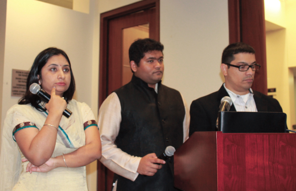 Three youth speakers, Sunanda Vashisht, Aadit Kapadia, and Pramod Kumar.