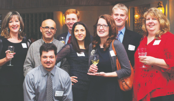 Some of the employees and guests at the anniversary party held at the Colombe d'Or on December 12.