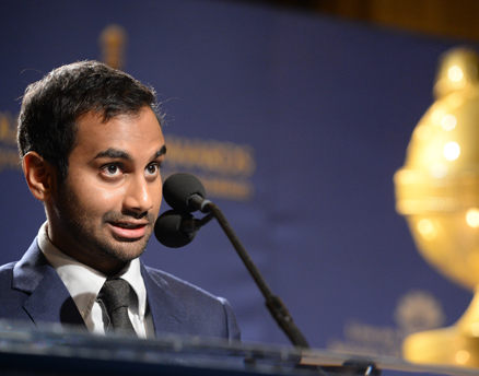 Actor and comedian Aziz Ansari announces nominations at the 71st Annual Golden Globes Awards nominations event Dec. 12, 2013, at the Beverly Hilton Hotel in Beverly Hills, Calif. Ansari has won a $3.5M advance from Penguin Press to write a book on the hazards of dating in an age of new technology. The fact that a social commentary by an Indian American on dating habits for all Americans is taken seriously is a major shift in the placement of Indian Americans in American society, writes Apurva Desai. (Getty Images)
