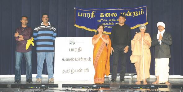 "Cast and writer of ""Vazhgha Senthamizh"" From left: Senthil, Mani, Malar, Chandramouli (script writer), Mala, Prasad)."