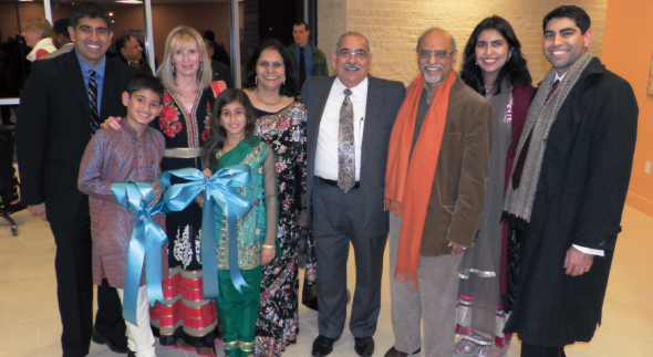 Bal and Rita Sareen (middle) with their family (from left) son Rakesh, wife Amy and their son Neel and daughter Laila; and daughter Sangeeta with her husband Dinesh.     Photo: Jawahar Malhotra