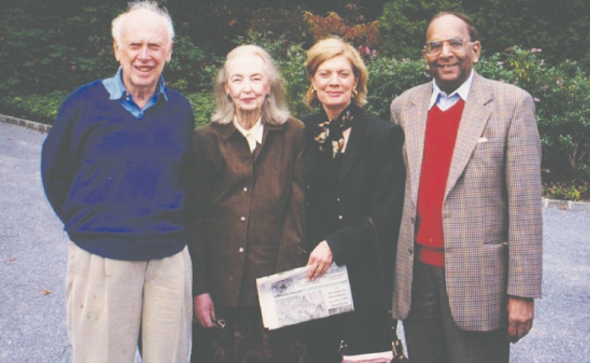Dr. Krishna Dronamraju (right) with Dr. James Watson and Mrs. Watson. Dr. Watson received the Nobel Prize for discovering the DNA molecule, Watson-Crick Model.