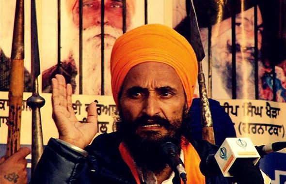 Gurcharan Singh Khalsa at a rally from a internet file photo.