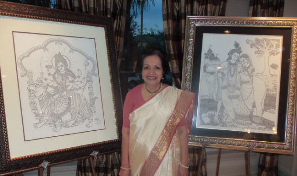 """Kumud S. Nilekani displayed some of the fine one line drawings that she believes a """"Divine Hand"""" guides her in making."""