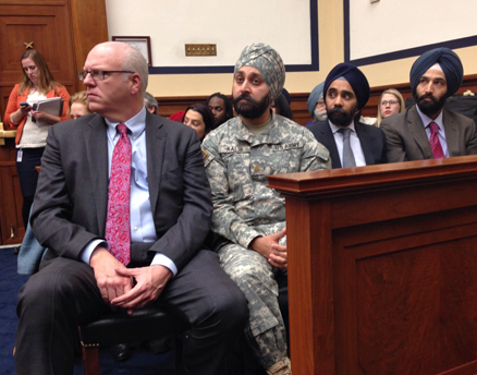 A subcommittee of the House Armed Forces Committee held a hearing Jan. 29 to discuss new regulations for accommodating religious practices in the U.S. military. From left to right: Rep. Joe Crowley, D-NY; Army Major Kamal Kalsi; Amardeep Singh, national director of programs at the Sikh Coalition; and Amandeep Sidhu, pro-bono counsel at the Sikh Coalition