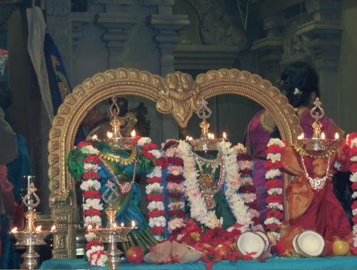 Beautifully decorated lamps symbolizing Goddess Durga, Lakshmi and Saraswathi at Sri MTS during the Thai Sukravara Puja.                      Photo: Luckmi Pawa