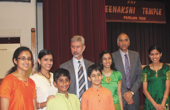 Students of Vidushi Smt.Rajarajeshwari Bhat with  the Indian Ambassador and Consul General of India after their musical performance at the MTS Kalyana Mandapam.