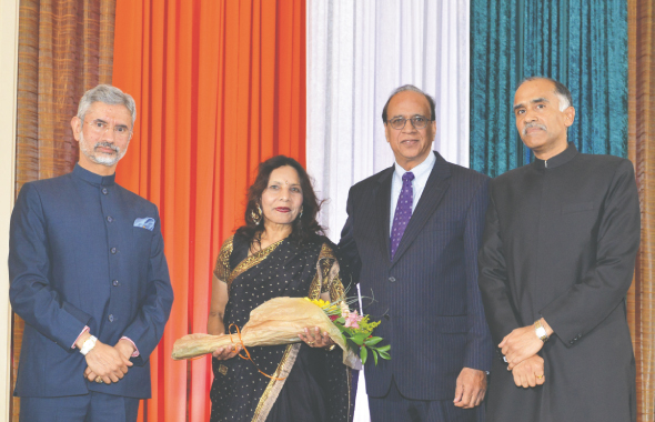 From left: Ambassador Jaishankar with Padma Shri Award winner Dr. Ashok Kumar Mago and his wife, and Consul General P. Harish.