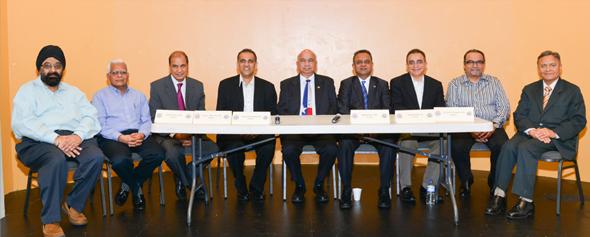 From Left: Jagdip Ahluwalia, Atul Kothari, Mike Jain, Swapan Dhairyawan, Ajit Thakur, Mahesh Desai, Imtiaz Munshi, Kershaw Khumbatta, and Surender Trehan at  the 2014 Tax seminar . Photos :Bijay Dixit