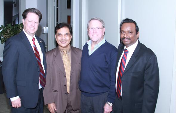 From left: Jeff Wiley, President Fort Bend Economic Development Council, Ken Mathew Stafford city council member, Allen Owen, Mayor of Missouri City, and Dr. Ramesh Cherivirala.
