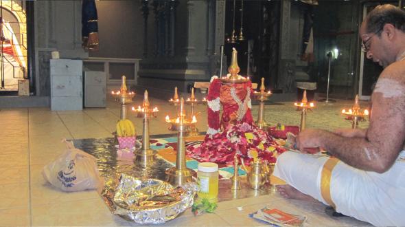 Sri Durga Parameswari invoked through the beautifully decorated lamps at Bhagavathi Seva conducted at Sri Meenakshi Temple.