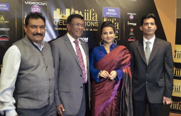 From left: Sabbas Joseph (Director – IIFA & Wizcraft), Dr. Kiran Patel (Supporter of IIFA), Actress Vidya Balan, and Rajender Singh, President and Founder, Star Promotion Inc.