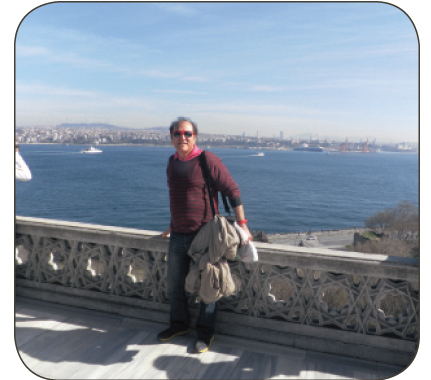 Malhotra at the Topkapi Palace with tthe Bosphorus River and Asia in the background