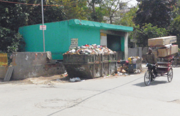 A trash collection area in Rajouri Garden in west Delhi