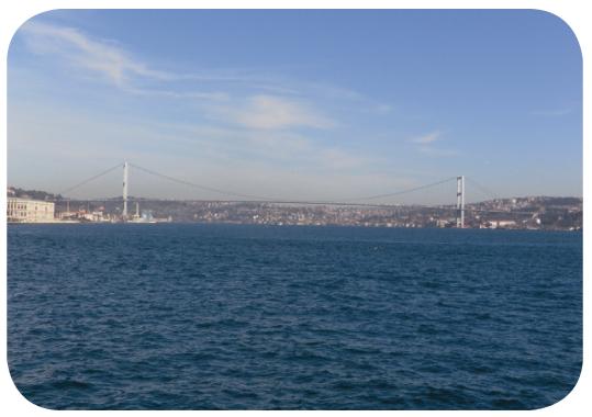 The Bosphorous Bridge spanning Europe and Asia