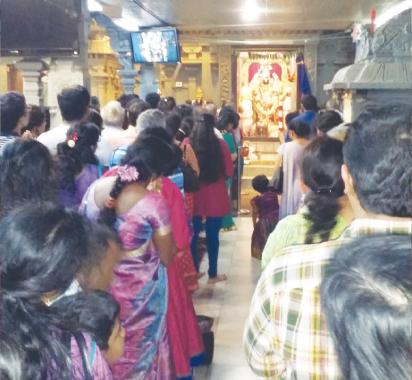 Lord Venkateshwara in all his splendor at Meenakshi temple on Ughadi day.
