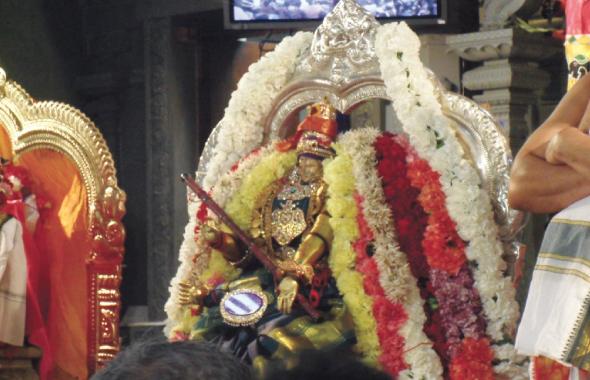 Sri Meenakshi with the Grand Scepter in Coronation splendor.
