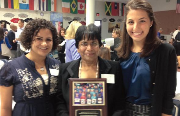 Sewa Houston president, Saroj Gupta (center), with Sewa AmeriCorps VISTAs, Alexis Angelo and Laura Frye,